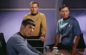 """LOS ANGELES - SEPTEMBER 15: Leonard Nimoy as Mr. Spock, William Shatner as Captain James T. Kirk and DeForest Kelley as Dr. McCoy in the STAR TREK episode, """"Charlie X.""""  Season 1, episode, 2.  Original air date September 15, 1966.  (Photo by CBS via Getty Images) *** Local Caption *** William Shatner;DeForest Kelley;Leonard Nimoy"""